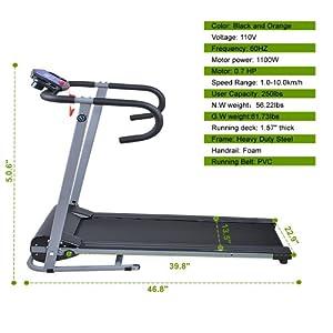 Goplus 500w Folding Portable Electric Treadmill (Black)