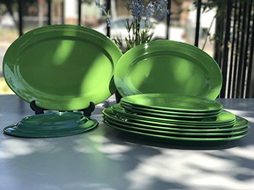 MrTableware Melamine Dinnerware 12-Piece Oval Dishes Set Two-Tone Green/Green Moss