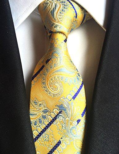 New Classic Paisley Yellow Blue JACQUARD WOVEN 100% Silk Men's Tie - Jojo Armani