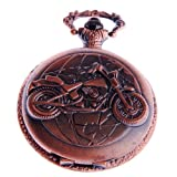 Pocket Watch Motorcycle Motif With Chain White Dial Full Hunter Arabic Numerals Steampunk Design PW-50