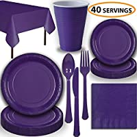 Disposable Party Supplies, Serves 40 - Purple - Large and Small Paper Plates, 12 oz Plastic Cups, heavyweight Cutlery, Napkins, and Tablecloths. Full Tableware Set
