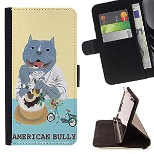 King Case - FOR Samsung Galaxy S4 IV I9500 - american bully - Prima caja de la PU billetera de cuero con ranuras para tarjetas, efectivo Compartimiento desmontable y correa para la mu?eca