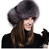 Jancoco Max Womens Winter Hat Genuine Fox Fur Russian Trapper Ushanka Hats