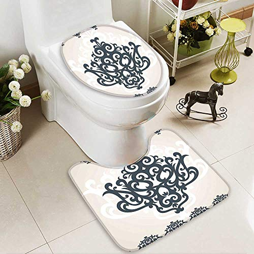 SOCOMIMI Large Contour Mat Eastern Islamic Motif with Arabic Effects Filigree Swirled Artsy Print Pearl Grey Soft Non-Slip Water by SOCOMIMI