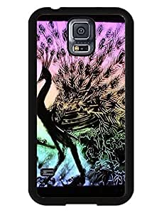 Black Frame Hard Plastic Case Design Peacock Sand Painting for Samsung Galaxy S5 I9600