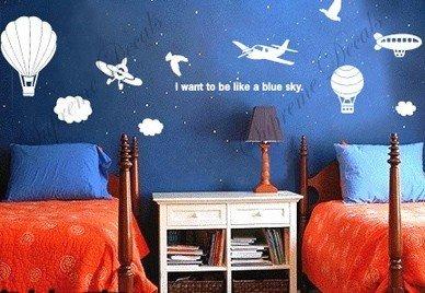 Custom PopDecals - Aviators - Beautiful Tree Wall Decals for Kids Rooms Teen Girls Boys Wallpaper Murals Sticker Wall Stickers Nursery Decor Nursery - Aviator Custom