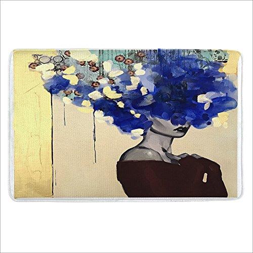 "ALFALFA Bath Rug, Non Slip Mat, Bathmat, Doormat, Thick Synthetic Sponge and Super Soft Microfiber Flannel Fabric,Absorbent, Popular Design Theme 16"" W x 24"" L (40 x 60 cm)-Blue Hair Girl"
