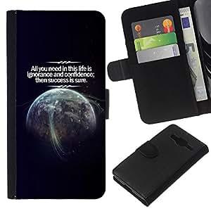 Planetar® Modelo colorido cuero carpeta tirón caso cubierta piel Holster Funda protección Para Samsung Galaxy Core Prime ( Cosmos Confianza Éxito Vida Planeta Tierra )
