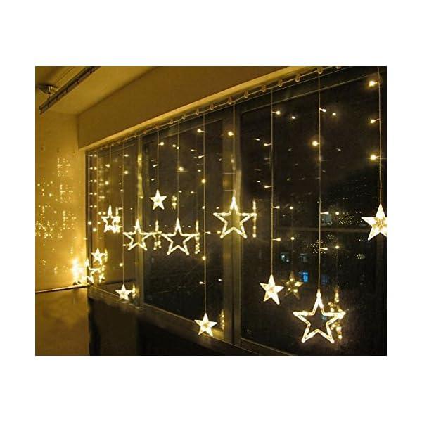 SALCAR luci colorate di Natale del LED 2 * 1 metro 12 stelle colorate illuminano tenda per le feste di Natale, Decorare, Party, 8 programmi scelta di colori (bianco caldo) 3 spesavip