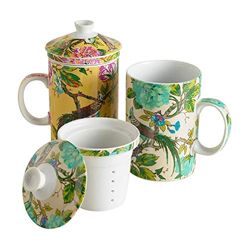 Birds in an English Garden Infuser Porcelain Teacup Mug with Lid and Filter - 12 Oz (Yellow)