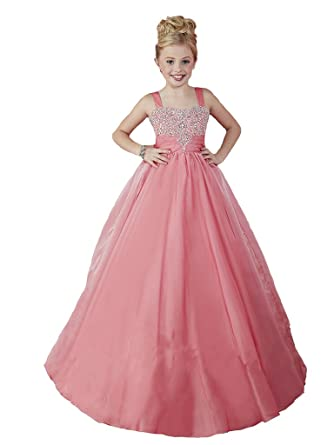 6ab57c5ec438 Yang Girls Coral Princess Beaded Wedding Party Empire Floor Length Pageant  Dresses 2