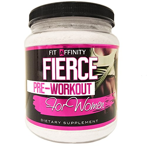 Fit Affinity Fierce Pre Workout For Women - Naturally Flavored Strawberry Lemonade - 30 Day Supply
