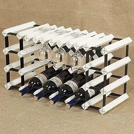 HJXSXHZ366 Estantería de Vino 10 Botellas de Vino Rack de Cocina Botella de Vidrio mostrador Estante 6 estantes Separados for Bar/Cocina, Blanco Estante de Vino pequeño (Color : White)