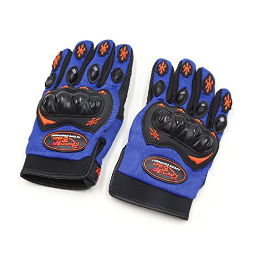uxcell Pair L Size Motorcycle Full Finger Nonslip Loop Fastener Racing Gloves Blue