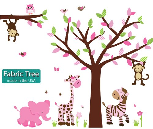 Fabric Safari Spring Jungle Tree Wall Decals, Jungle Stickers with Pink and Green Leaves by Nursery Decals and More