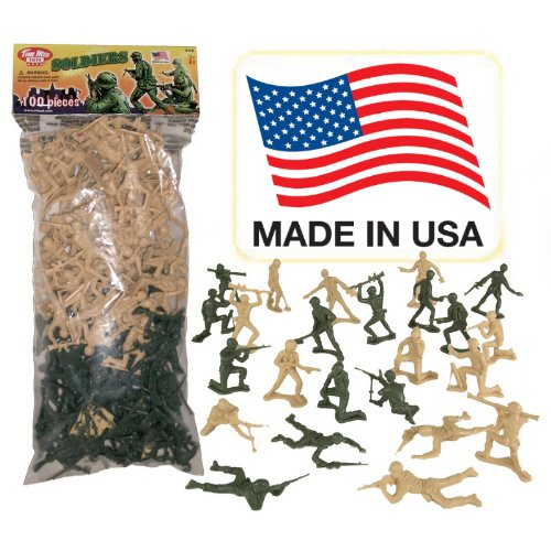 TimMee Plastic Army Men - Green vs Tan 100pc Toy Soldier Figures - Made in -