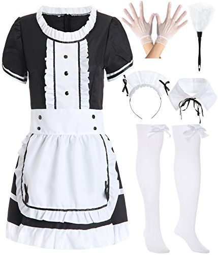 JustinCostume Women's French Maid Outfit Dress Apron Stockings Duster L Black
