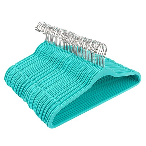 Velvet Hangers with Accessory Bar - For Shirts, Dresses, and Delicate Clothing - Non-Slip Velvety Smooth Texture - Slim Space Saving Design- Teal - 50 Pack by Juvale