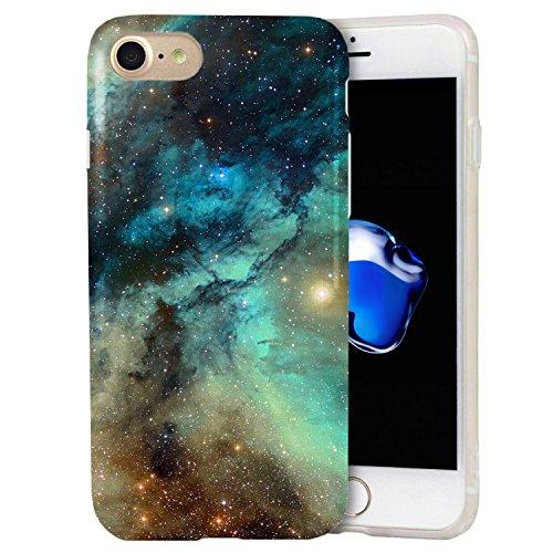 iPhone 8 / iPhone 7 Case, ZUSLAB Fashion Design, Slim Shockproof Flexible TPU, Soft Rubber Silicone Skin Cover for Apple iPhone 8 / iPhone 7 (Dark Green Nebula Galaxy)