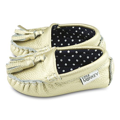 Pictures of Golden Glam Leather and Fabric Lined Moccasin ( 4