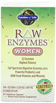 Garden of Life Vegetarian Digestive Supplement for Women - Raw Enzymes Women for Digestion, Bloating, Gas, and IBS, 90 Capsules...