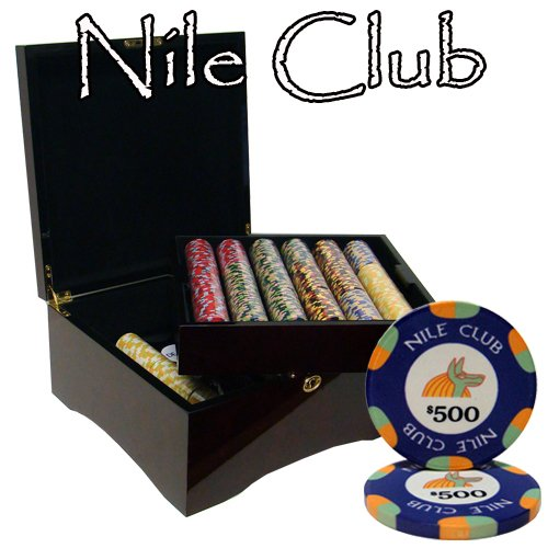 - 750 Ct Nile Club 10 Gram Ceramic Poker Chip Set in Mahogany Case