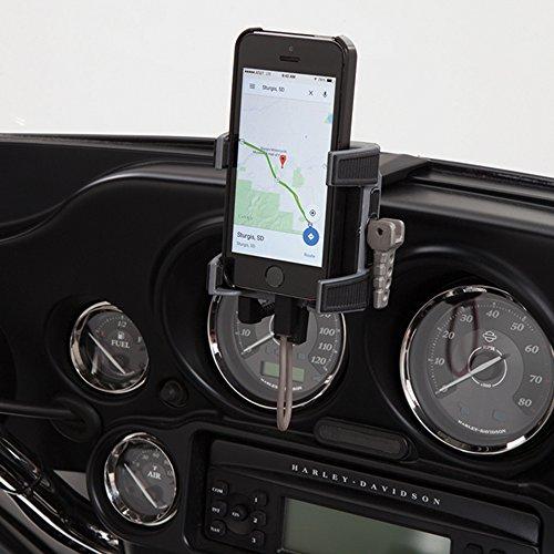 CIRO 50216 Black Fairing Mount Smartphone/GPS Holder with Charger for 1996-2013 Harley-Davidson FLHT/FLHX Touring Models