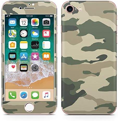 igsticker iPhone SE 2020 iPhone8 iPhone7 専用 スキンシール 全面スキンシール フル 背面 側面 正面 液晶 ステッカー 保護シール 008444 チェック・ボーダー グリーン 緑 迷彩 模様