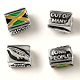 Jamaica - One People Out of Many - Flag and Map - Sterling Silver Charm Fits Bracelets like Pandora - Perfect Vacation Souvenir and Gift