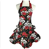 HIQUE Cotton Canvas Kitchen Apron for Women, Rose and skull Design