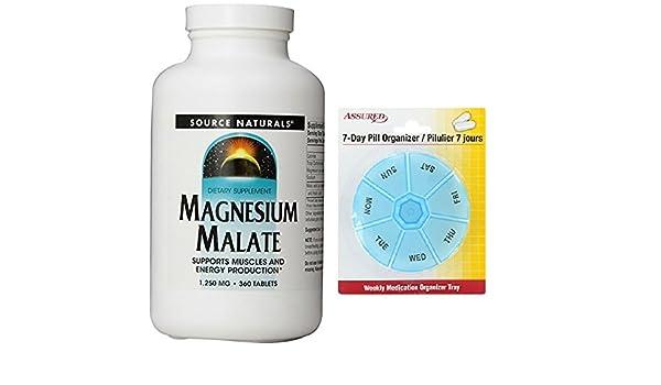 Amazon.com: Source Naturals malato de magnesio 1250mg, soporta los músculos y la producción de energía, 360 tabletas con gratis 7 días plástico píldora ...