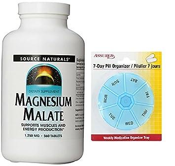 Source Naturals malato de magnesio 1250mg, soporta los músculos y la producción de energía,