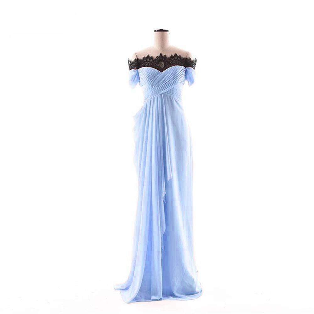 Light bluee Dydsz Women's Evening Party Dresses Mermaid Long Prom Dress Off Shoulder Lace D275
