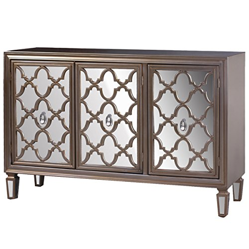 - Collective Design 720354123216 Transitional 3 Mirrored Door Fronts-Champagne Silver Credenza