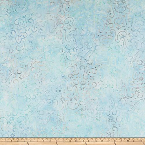 Batik Print Patch - Wilmington Batiks Floral Patchwork Sky Blue Fabric by The Yard
