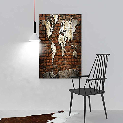 aolankaili Painting Living Room Decoration Frameless Grunge Concrete World map on Old Brick Wall for Living Room Office Decor Gift W16 x H24