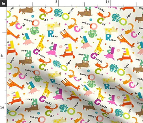 alphabet animals Fabric - Nursery And Classroom Decor Rhinocerous Giraffe Fox Octopus Cats Pig Alphabet Redfish Modern by Amy Schimler-Safford Printed on Petal Signature Cotton Fabric by the Yard