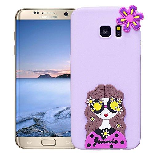 Funda Samsung Galaxy S7 EDGE Carcasa Protectora Lindo OuDu **Diseño 3D** Funda para Samsung Galaxy S7 EDGE Caso Silicona TPU Funda Suave Soft Silicone Case Cover Bumper Funda Ultra Delgado Carcasa Fle Púrpura ligera