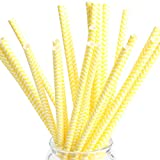: Paper Straws Drinking Chevron Party Straws Disposable Drinkware Straws for Birthday Wedding Halloween Thanks Giving yellow Pack of 25