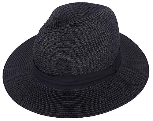 (Sun Hat Men & Women's Wide Brim Packable Straw Panama Hat Fedora Beach Hat,Black)