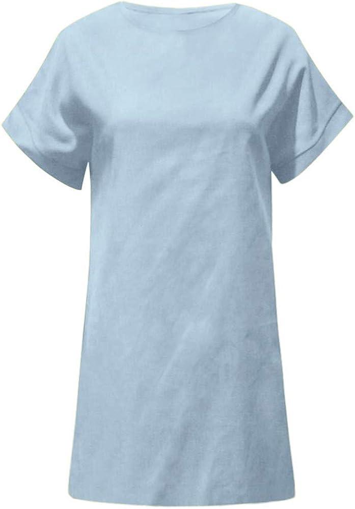 Sylar Vestido De Verano Mujer Color Sólido Vestidos Mujer Casual Cortos Manga Cortos Vestidos Playa Mujer Vestidos Mujer De Lino Vestidos Noche Elegante con Cuello En O Vestido De Camiseta: Amazon.es: Ropa