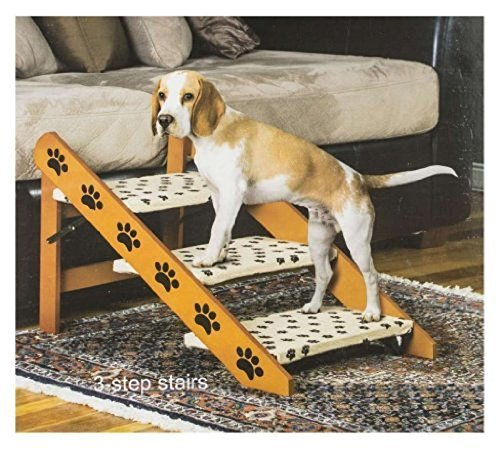 Hot Sale! Convertible Pet Ramp Steps Dog Cat. Bed Stairs Step Easy, Wood 2 in 1 Staircase by Polar Bear's Pet