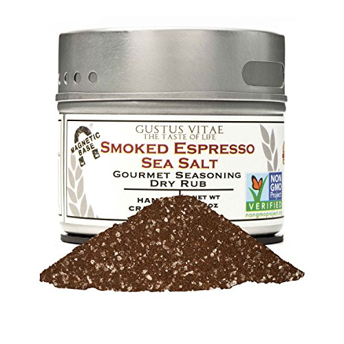 (Smoked Espresso Sea Salt | Gourmet Seasoning | Non GMO Project Verified | Small Batch | Magnetic Tin | 2.3oz | Gustus Vitae)