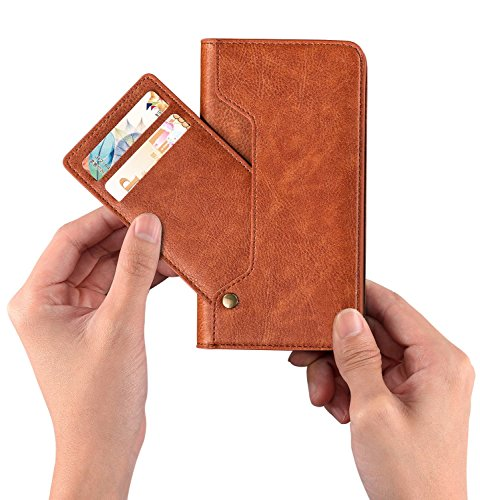 SINIANL iPhone 6 6S 7 8 X Plus Samsung Galaxy S8 Note 8 Leather Wallet Case With Movable Card Slots Credit Card Holder Magnetic Closure Stand Up Folio Flip Cover ()