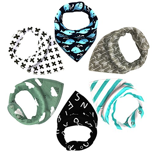 MIBOW Bandana Baby Bibs Set,Cool Design for Boys,Drool Bibs for Drooling and Teething,100% Organic Super Absorbent Cotton,Baby Shower and Newborn Registry Gift,6-Pack