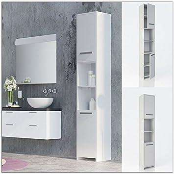 White Bathroom Cabinet Tall Unit Free Standing Storage Shelves Bath Furniture UK & White Bathroom Cabinet Tall Unit Free Standing Storage Shelves Bath ...