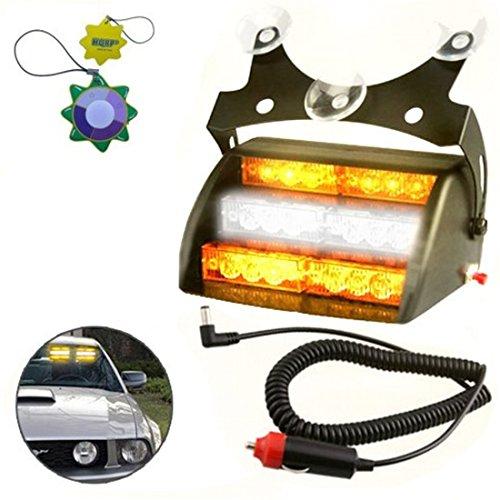 HQRP Amber/White 18 LED Car Emergency Vehicle Warning Strobe Light 4 Flash Mode plus HQRP UV Meter