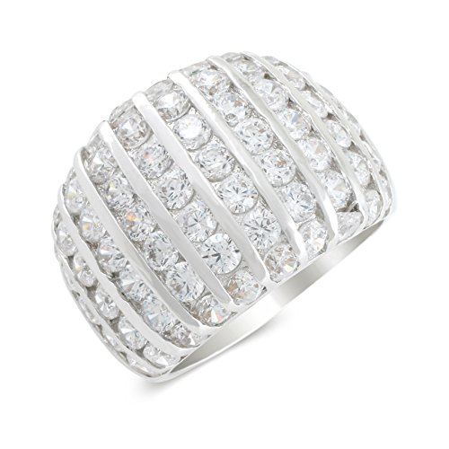 JanKuo Jewelry Rhodium Plated Cubic Zirconia Dome Band Ring (8)
