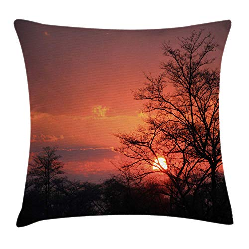 (DREAM-S African Throw Pillow Cushion Cover, Sunset Kwando River Caprivi Strip Namibia Evening Wilderness National Park, Decorative Square Accent Pillow Case, 18 X 18 Inches, Coral Orange)