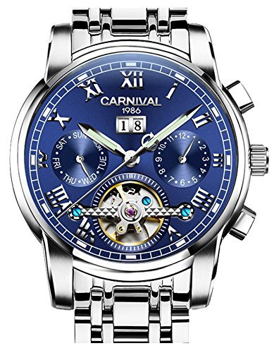 CARNIVAL Mens tourbillon Automatic Mechanical Watch Silver Stainless Steel multifunction Blue Watches